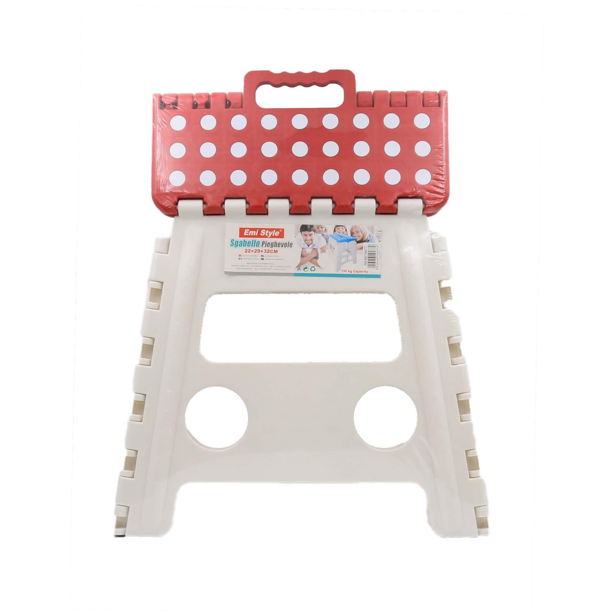 Sgabello pieghevole in plastica altezza 13 cm fino a 130 kg sgabello per bambini e adulti con manici Cikonielf