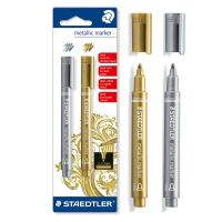 Marcatori metallizzati oro e argento a punta tonda -4007817832059