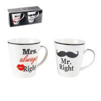 Tazze da colazione in ceramica Mr Right- Mrs Alwais Right-4029811336197