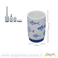 Bicchiere da Bagno in Ceramica Blue Fish - Ø7x11.5cm-636946732363
