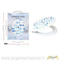 Copriwater in MDF Blue Fish - 23x27.5cm/37.2x43.3cm-636946761479